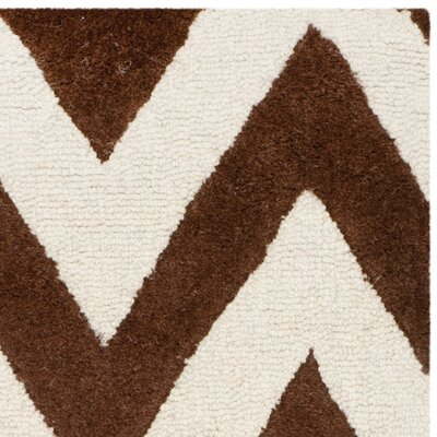 Charlenne Hand-Tufted Dark Brown/Ivory Area Rug Rug Size: Rectangle 9 x 12