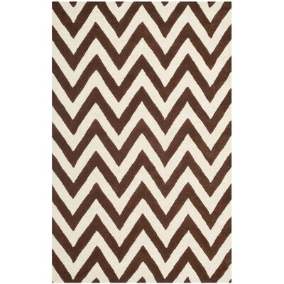 Charlenne Dark Brown/Ivory Area Rug Rug Size: 5 x 8