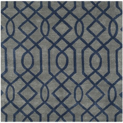 Schaub Hand-Tufted Gray/Dark Blue Area Rug Rug Size: Square 6