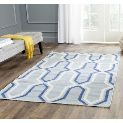 Dhurries Handmade Light Blue/Dark Blue Area Rug Rug Size: Rectangle 8 x 10