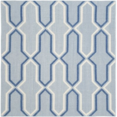 Dhurries Handmade Light Blue/Dark Blue Area Rug Rug Size: Square 6