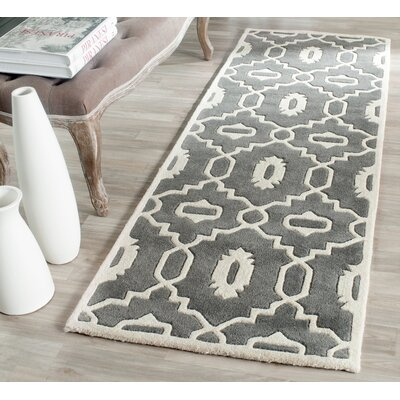 Wilkin Moroccan Hand-Tufted Wool Dark Gray/Ivory Area Rug Rug Size: Runner 23 x 7