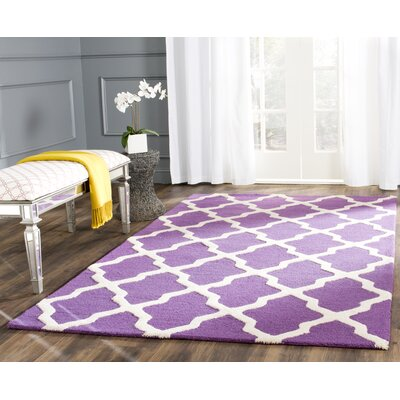 Charlenne Hand-Tufted Purple/Ivory Area Rug Rug Size: Rectangle 6 x 9