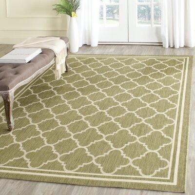 Short Green/Beige Indoor/Outdoor Area Rug Rug Size: Rectangle 4 x 57