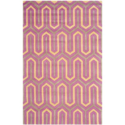 Martins Hand-Tufted Pink/Gray Area Rug Rug Size: Rectangle 4 x 6
