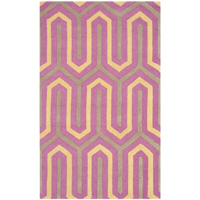 Martins Hand-Tufted Pink/Gray Area Rug Rug Size: Rectangle 3 x 5