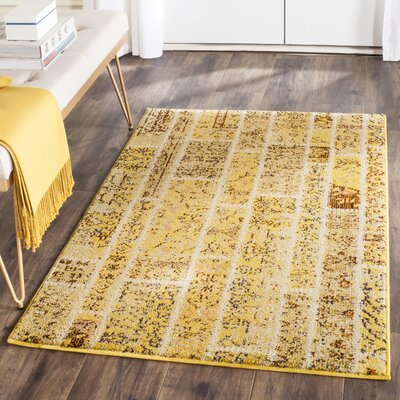 Yellow Area Rug Rug Size: Rectangle 67 x 92