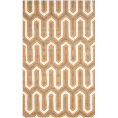 Martins Hand-Tufted Orange/Grey Area Rug Rug Size: Rectangle 4 x 6