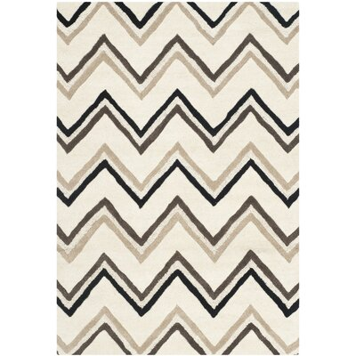 Charlenne Hand-Tufted Wool Ivory/Black Area Rug Rug Size: Rectangle 2 x 3