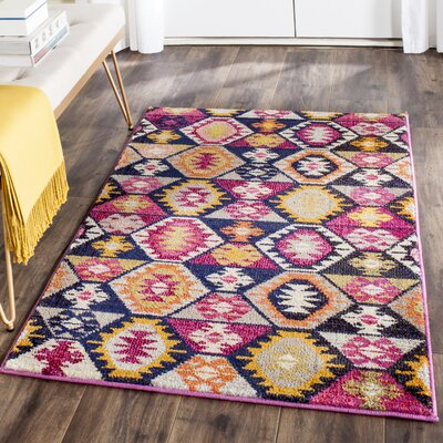 Haywood Yellow/Pink Area Rug Rug Size: Rectangle 9 x 12
