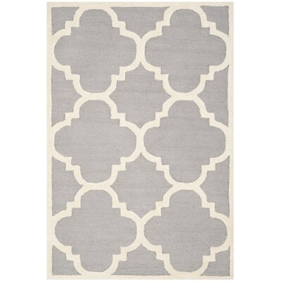 Charlenne Hand-Tufted Wool Silver/Ivory Area Rug Rug Size: Rectangle 26 x 4