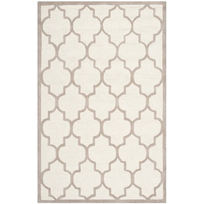 Charlenne Hand-Tufted Ivory/Beige Area Rug Rug Size: Rectangle 5 x 8