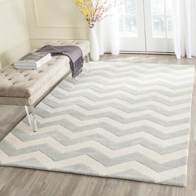 Wilkin Chevron Hand-Tufted Wool Gray/Ivory Area Rug Rug Size: Rectangle 10 x 14
