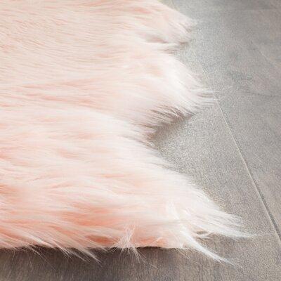 Bilton Hand-Tufted�Faux Sheepskin Pink Area Rug Rug Size: 5 x 8