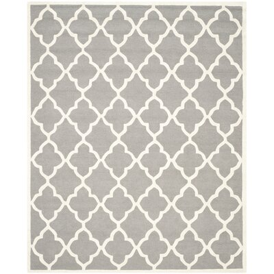 Charlenne Dark Grey / Ivory Area Rug Rug Size: 8 x 10
