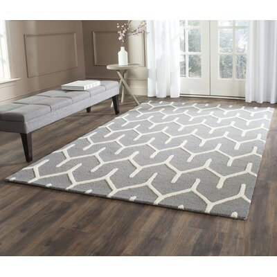 Martins Hand-Tufted Dark Gray/Ivory Area Rug Rug Size: Rectangle 6 x 9