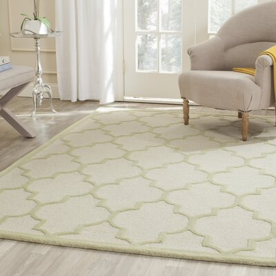 Charlenne Hand-Tufted Ivory/Light Green Area Rug Rug Size: Rectangle 5 x 8