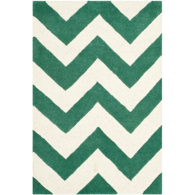 Wilkin Hand-Tufted Wool Teal/Ivory Area Rug Rug Size: Rectangle 3' x 5'