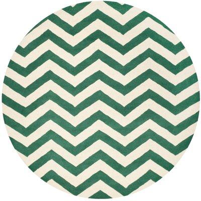 Wilkin Green/White Area Rug Rug Size: Round 5