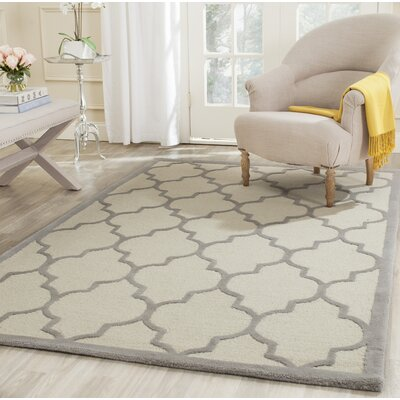 Charlenne Hand-Woven Wool Ivory/Silver Area Rug Rug Size: Rectangle 5 x 8