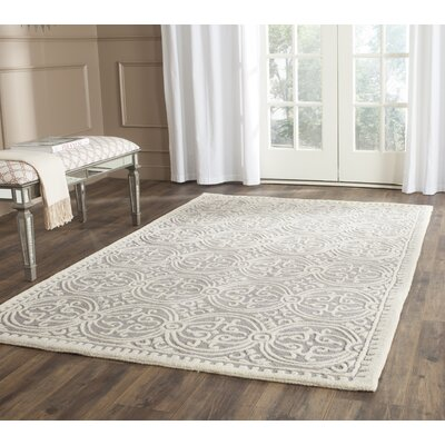 Landen Hand-Tufted Silver/Ivory Area Rug Rug Size: Rectangle 3 x 5