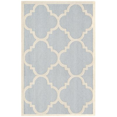 Charlenne Hand-Tufted Light Blue/Ivory Area Rug Rug Size: Rectangle 5 x 8