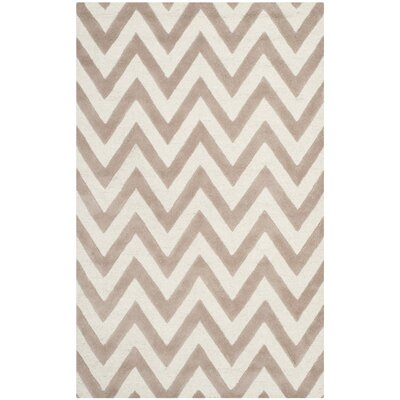 Charlenne Hand-Tufted Wool Beige/Brown Area Rug Rug Size: Rectangle 5 x 8