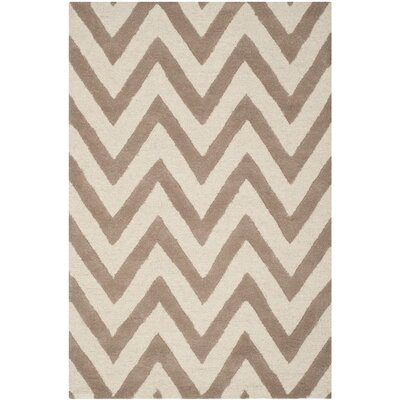 Charlenne Hand-Tufted Wool Beige/Brown Area Rug Rug Size: Rectangle 4' x 6'