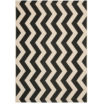 Jefferson Place Black/Beige Indoor/Outdoor Area Rug Rug Size: Rectangle 4 x 57