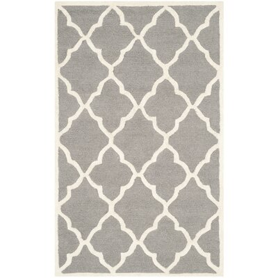 Charlenne Hand-Tufted Dark Grey/Ivory Area Rug Rug Size: Rectangle 3 x 5