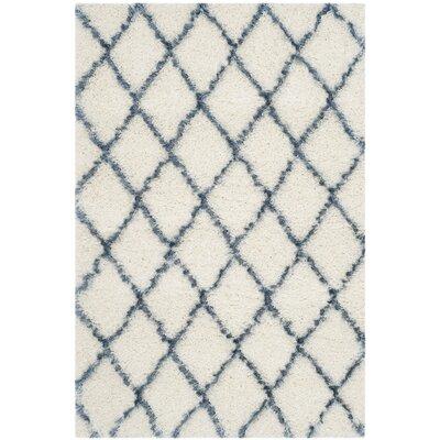 Armstead Ivory/Blue Area Rug Rug Size: 51 x 76