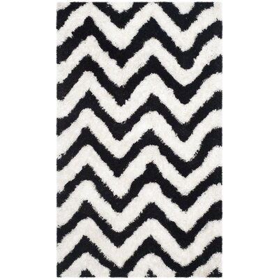 Barcelona Shag Hand-Tufted Cotton White/Black Area Rug Rug Size: Rectangle 9 x 12