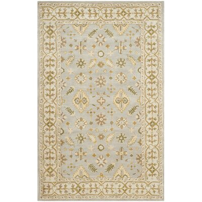 Albertine Hand-Tufted Wool Light Blue/Ivory Area Rug Rug Size: Rectangle 6 x 9