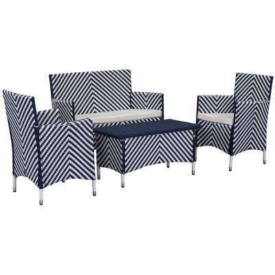 Mckeever 4 Piece Sofa Set with Cushions Color: Navy / White