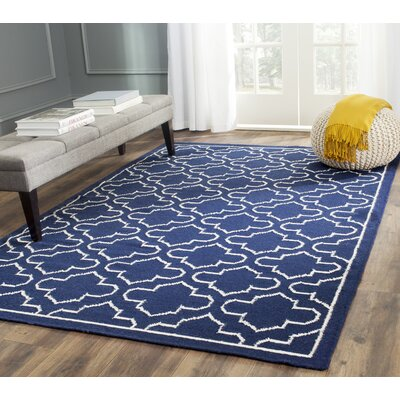 Dhurries Wool Navy/Ivory Area Rug Rug Size: Rectangle 8 x 10
