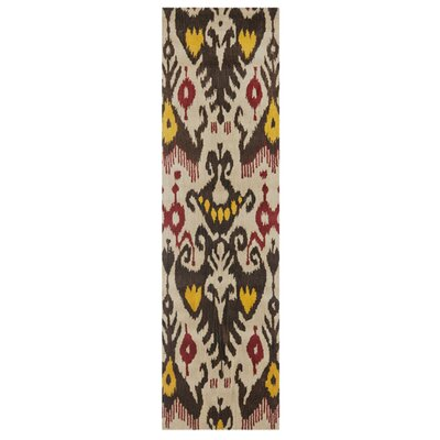Ikat Hand-Woven Wool Beige/Brown Area Rug Rug Size: Rectangle 3 x 5