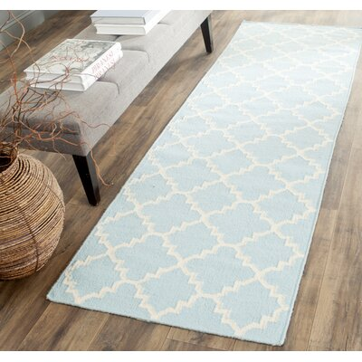 Danbury Hand-Woven Wool Light Blue/Ivory Area Rug Rug Size: Runner 26 x 6
