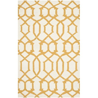 Dhurries Wool Ivory/Yellow Area Rug Rug Size: Rectangle 3 x 5