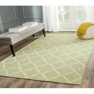 Hand-Woven Light Green/Ivory Area Rug Rug Size: Rectangle 5 x 8