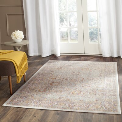 Shady Dale Silver/Ivory Area Rug Rug Size: 53 x 76