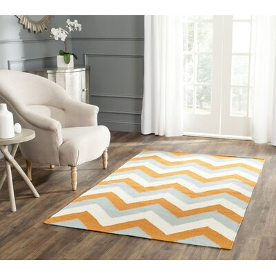 Lily Hand Woven Blue/Orange Area Rug Rug Size: Rectangle 8 x 10