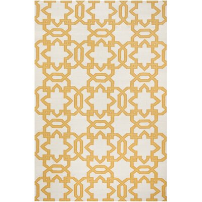 Dhurries Wool Orange/Ivory Area Rug Rug Size: Rectangle 5 x 8