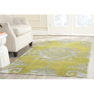 Collette Hand Woven Cotton Chartreuse Area Rug Rug Size: 5 x 8