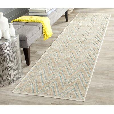 Scharff Taupe/Aqua Area Rug Rug Size: Rectangle 53 x 76