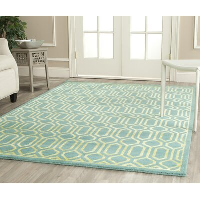 Mosaic Aqua / Light Gold Rug Rug Size: Rectangle 4 x 6