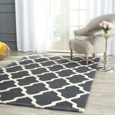 Charlenne Wool Dark Gray/Ivory Area Rug Rug Size: Rectangle 10 x 14