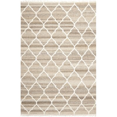 Natural Kilim Hand-Woven Light Gray/Ivory Area Rug Rug Size: Rectangle 9 x 12