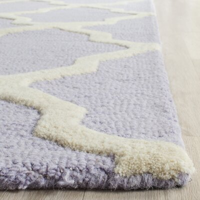 Charlenne Hand-Tufted Lavender/Ivory Area Rug Rug Size: Rectangle 5 x 8