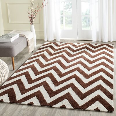 Charlenne Hand-Tufted Dark Brown/Ivory Area Rug Rug Size: Rectangle 4 x 6