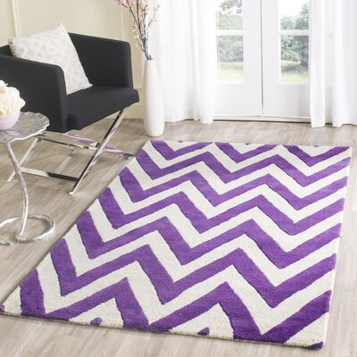 Charlenne Hand-Tufted Purple/Ivory Wool Area Rug Rug Size: Square 6